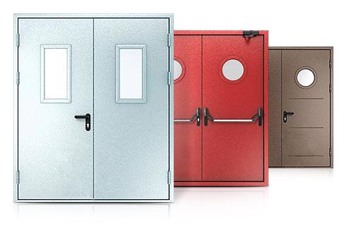 Конструкции остекленных противопожарных дверей