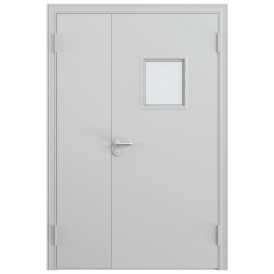 Дверь противопожарная металлическая остекленная двупольная
